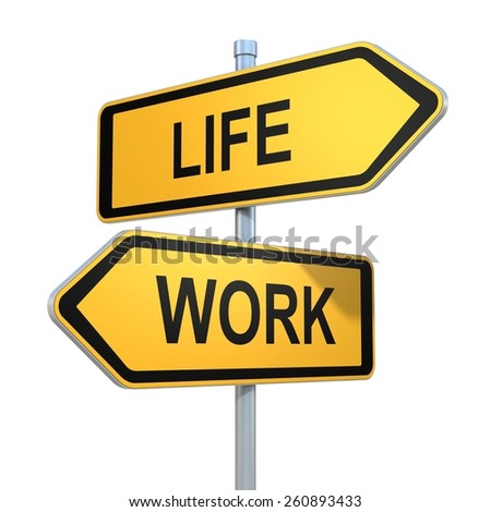 two road signs - life or work choice - stock photo