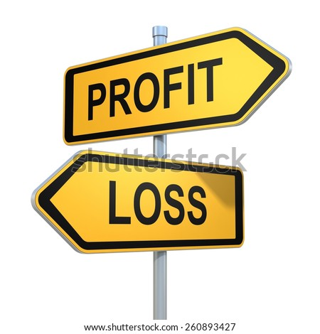 two road signs - profit or loss choice - stock photo