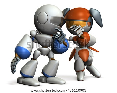 Two robots are whispering secret story. 3D illustration - stock photo