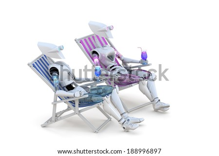 Two robots sitting on beach chairs with cocktail drinks against a white background. - stock photo