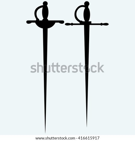 Two saber. Isolated on blue background. Raster version - stock photo