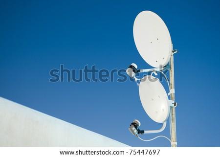 two satellite antenna - stock photo