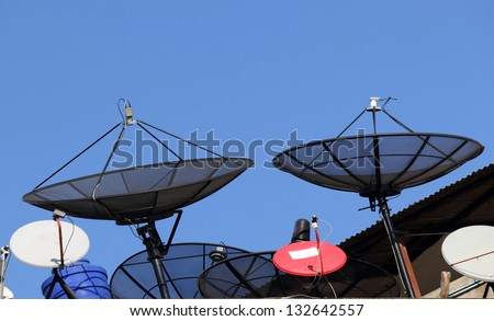 Two satellite dishes. - stock photo