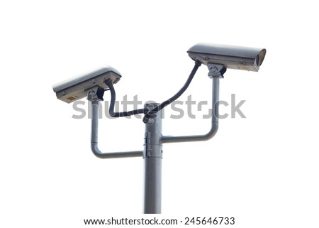 two security camera on the white background - stock photo