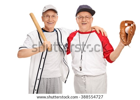 Two senior men in baseball sportswear posing together and smiling isolated on white background - stock photo