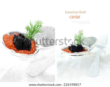 Two separate images of caviar fish roe against a white background. Copy space. - stock photo