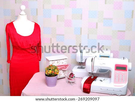 Two sewing machine mannequin nit.Shite and cut. The composition is unique for the fashion magazines. Layout of the sewing machine2. - stock photo