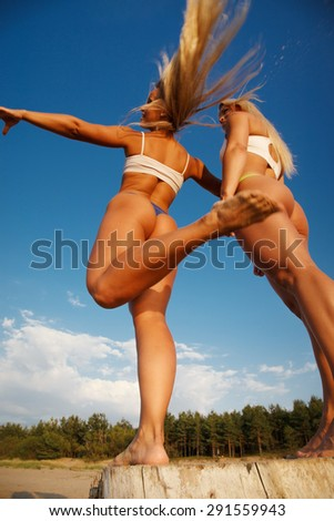 Two sexy girl posing on the beach. - stock photo