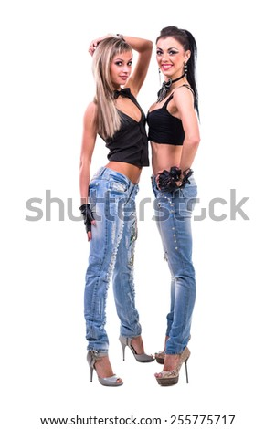 two sexy girls, isolated on white background in full length - stock photo