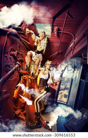 Two sexy woman in the steam-punk clothes in the cabin of a vintage train. - stock photo