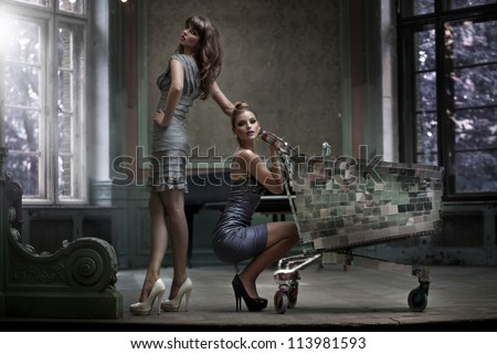 Two sexy women with shopping trolley - stock photo