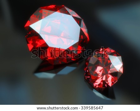 Two Shiny Gems.. 3d rendering - stock photo
