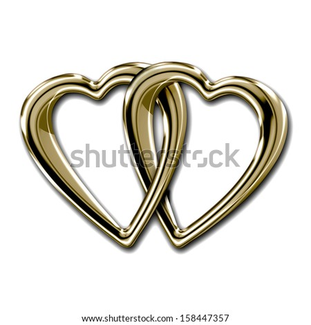 Two shiny golden hearts linked together as a token of shared love isolated on white - stock photo