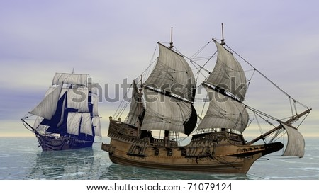two ships in the sea - stock photo
