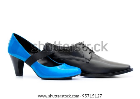 Two shoes isolated on the white background - stock photo