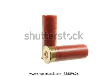 Two shotgun shells isolated on white - stock photo