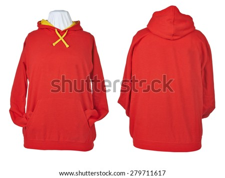 Two side of wrinkled blank Red shirts, long sleeve shirt, golf shirt, V-neck and hoodie. Clipping path included. Ready for your design or logo. - stock photo