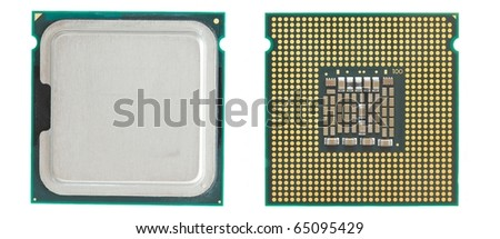 Two sides of a computer processor - stock photo