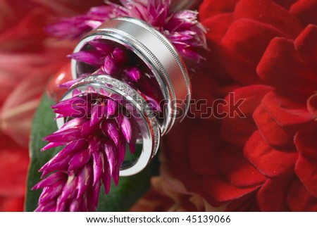 Two silver wedding rings on bouquet flower, focus on diamonds - stock photo