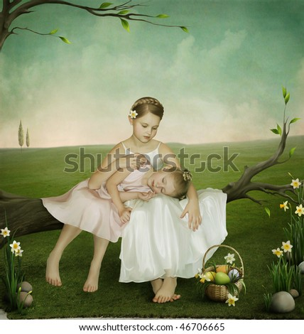 Two sisters,Easter greeting cards - stock photo