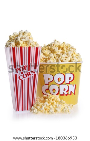 Two sizes of popcorn containers on white - stock photo