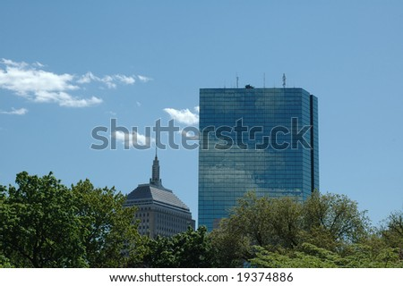Two skyscrapers in Boston against a blue summer sky - stock photo