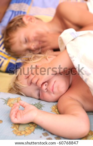 two sleeping kids - stock photo