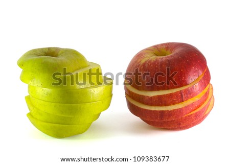 Two sliced apples  isolated on white - stock photo