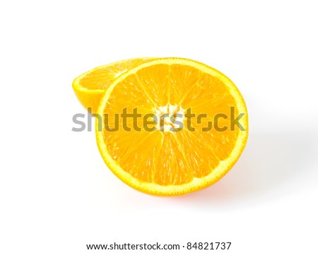 Two sliced oranges on a white background. - stock photo
