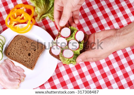 Two slices of black bread, thinly sliced ??bacon, yellow peppers, cucumbers and radishes on the table. Cooking sandwich. Time for lunch. Breakfast. A simple recipe for a sandwich. - stock photo