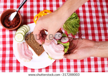 Two slices of black bread, thinly sliced bacon, yellow peppers, cucumbers and radishes on the table. Cooking sandwich. Time for lunch. Breakfast. A simple recipe for a sandwich. - stock photo