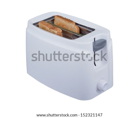 Two slices of bread cooked in toaster isolated on white background. - stock photo