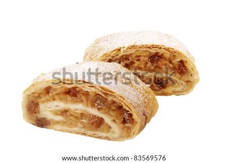 Two slices of tasty Apple strudel - studio - stock photo