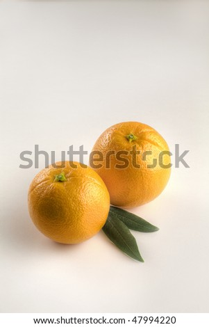 Two Small Oranges with Leaves Isolated on White Vertical - stock photo