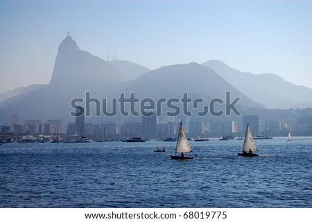 two small sailboats in Rio de Janeiro, Brazil - stock photo