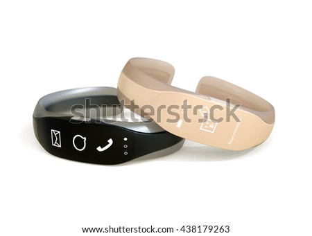 Two smart wristbands isolated on white background. 3D rendering image  - stock photo