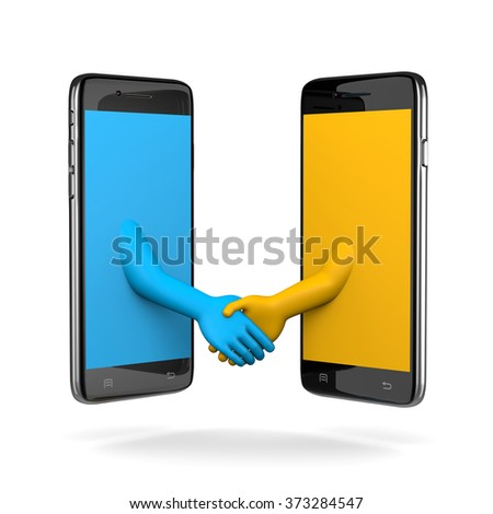 Two Smartphone Shaking Hands 3D Illustration on White Background - stock photo