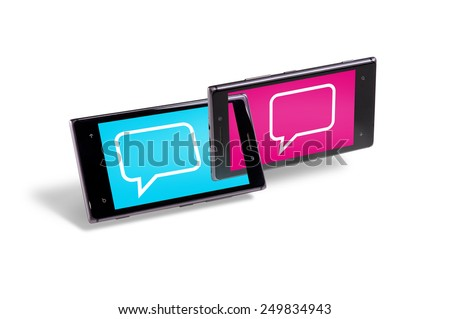 Two smartphones connected as chain elements - stock photo