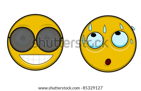 Two smilies one hot one with sunglass - stock photo