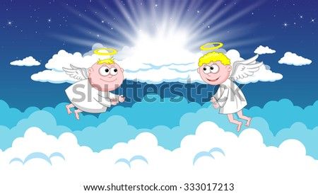 Two smiling angels flying in heaven - stock photo