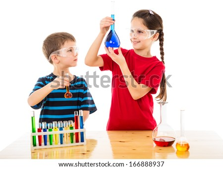Two smiling kids making chemical experiment, isolated on white - stock photo