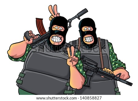 Two smiling men with guns - stock photo