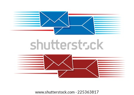 Two snail mail icons with two envelopes, one long one small, with a pattern of parallel lines on either side in red and blue - stock photo