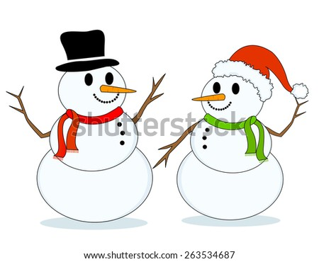 Two snowmen isolated on white background  - stock photo