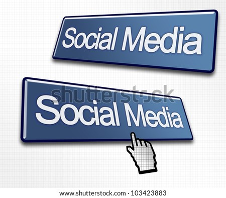 Two Social Media Buttons with a Hand Cursor Clicking - stock photo