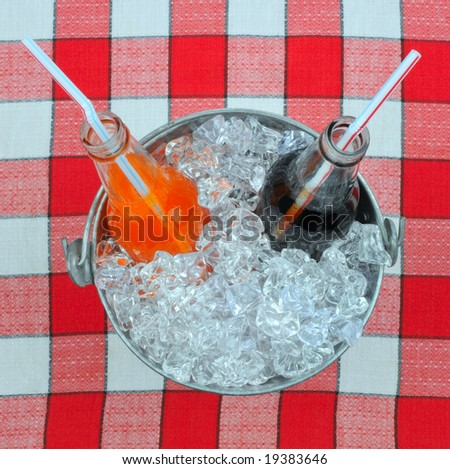 Two Soda Bottles in Bucket of Ice on Picnic Table Cloth - stock photo