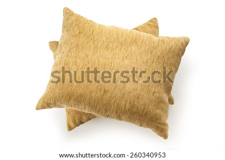 Two soft pillows on the white background - stock photo