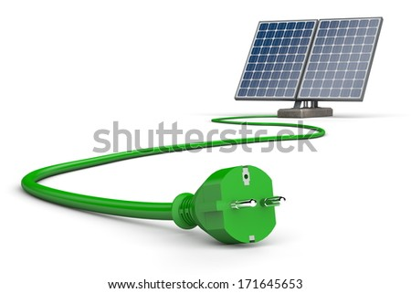 two solar panels connected to a curving green cable on a white background - stock photo