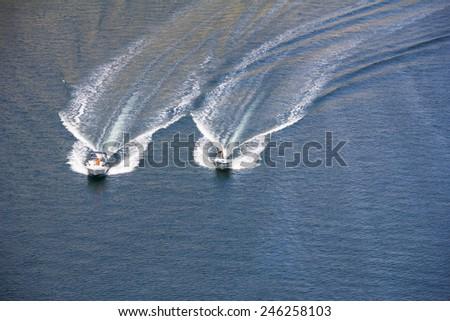 Two speedboats on blue Adriatic sea, Croatia - stock photo