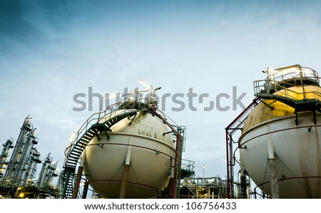 Two sphere gas storages in petrochemical plant - stock photo